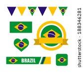 Patrones de bandera, la bandera y el icono de Brasil establece ilustración - vector stock