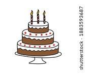 birthday cake doodle icon ...   Shutterstock .eps vector #1883593687