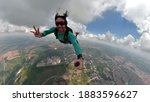 Parachutist Making Selfie. Used ...