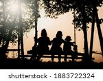 The Silhouette Of A Sunset With ...