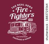 vintage fire truck vector... | Shutterstock .eps vector #1883725564