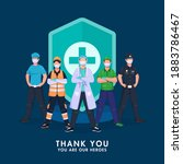 thank you all warriors fighting ...   Shutterstock .eps vector #1883786467