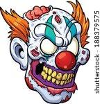 Zombie Clown Head. Vector Clip...