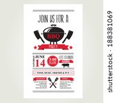 barbecue party invitation. bbq... | Shutterstock .eps vector #188381069