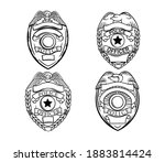 set of police badge. collection ... | Shutterstock .eps vector #1883814424
