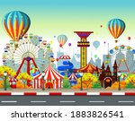carousel park with town... | Shutterstock .eps vector #1883826541
