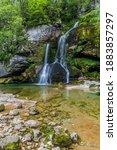 Slap Virje waterfall near Bovec village, Slovenia - stock photo