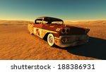 Rusty Car In The Desert.