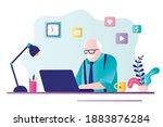 elderly gray haired businessman ... | Shutterstock .eps vector #1883876284