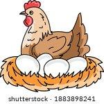 cartoon hen incubates the eggs... | Shutterstock .eps vector #1883898241