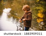 Little Fisherman. Child Boy...