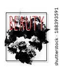rose artwork in black color... | Shutterstock . vector #188393591