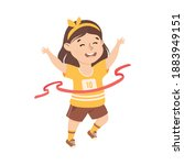 girl running to finish line...   Shutterstock .eps vector #1883949151