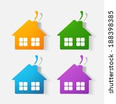 paper clipped sticker  house.... | Shutterstock .eps vector #188398385