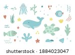 save the ocean hand drawn sea... | Shutterstock .eps vector #1884023047