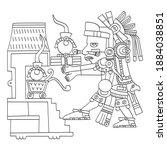 vector image with aztec god ...   Shutterstock .eps vector #1884038851