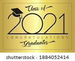 class of 2021 year graduation... | Shutterstock .eps vector #1884052414