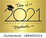class of 2021 year graduation... | Shutterstock .eps vector #1884052414