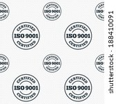 ISO 9001 certified sign icon. Certification stamp. Seamless grid lines texture. Cells repeating pattern. White texture background. Vector