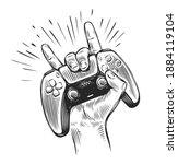game controller in hand. video... | Shutterstock .eps vector #1884119104