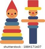childhood wooden toys in... | Shutterstock .eps vector #1884171607