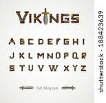 Font. Viking Style. Medieval...