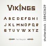 Постер, плакат: Font Viking style Medieval weapons