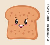 kawaii cute bread cartoon food | Shutterstock .eps vector #1884251917