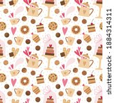 seamless pattern with hearts ...   Shutterstock .eps vector #1884314311