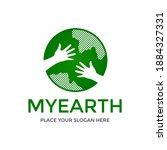 my earth vector logo template.... | Shutterstock .eps vector #1884327331