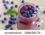 mason jar filled with blueberry ... | Shutterstock . vector #188438174