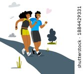 a young couple jogging together ... | Shutterstock .eps vector #1884429331