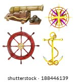 marine set with the hand drawn...   Shutterstock . vector #188446139