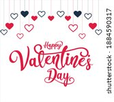 valentine day card design with... | Shutterstock .eps vector #1884590317