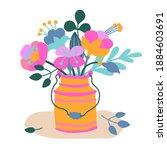 cute bouquet of flowers in...   Shutterstock .eps vector #1884603691