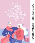 senior couple in love. elderly... | Shutterstock .eps vector #1884619627