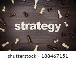 word strategy and chessmen on... | Shutterstock . vector #188467151