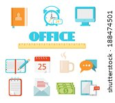 colored flat office icon set...