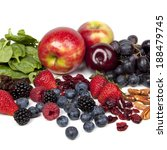Foods rich in antioxidants, over white background. - stock photo