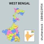 west bengal map. showing... | Shutterstock .eps vector #1884823954