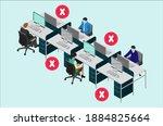 wearing mask at office. social... | Shutterstock .eps vector #1884825664