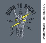 born to rock slogan with rock... | Shutterstock .eps vector #1884836377