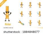 cute ruler poses set. vector... | Shutterstock .eps vector #1884848077