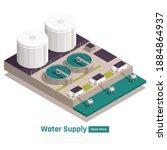 water supply concept 3... | Shutterstock .eps vector #1884864937