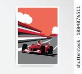 red formula car. f1 landscape.... | Shutterstock .eps vector #1884876511