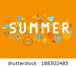 vector summer poster in flat... | Shutterstock .eps vector #188502485