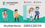 people get vaccines with doctor ... | Shutterstock .eps vector #1885128154
