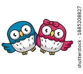 cute animal owl bird in...   Shutterstock .eps vector #1885208827