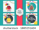birthday party card set...   Shutterstock .eps vector #1885251604