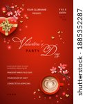 valentine's day poster with... | Shutterstock .eps vector #1885352287